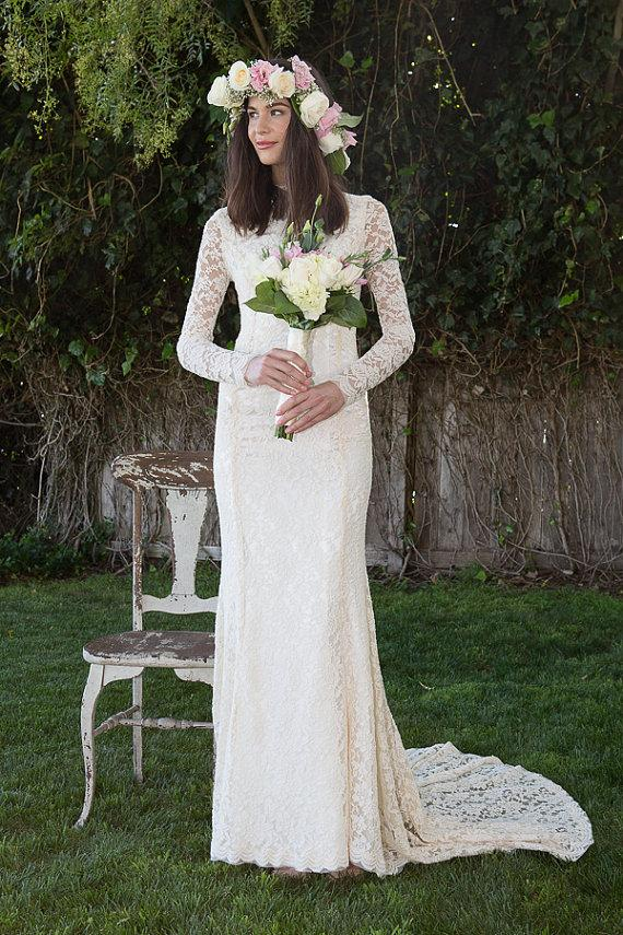 Boda - Classic Lace Wedding Dress with Long Sleeve. stretch embroidered lace wedding gown. Vintage Inspired Bohemian Wedding Dress. ivory or white