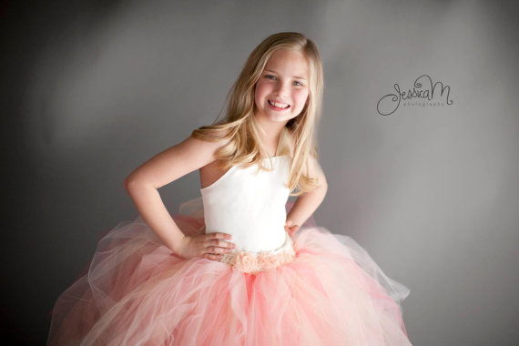 Mariage - Pixie tutu dress...Ivory satin Bodice...Peach and Champagne skirt...Flower Girl Dress..Vintage Photography Prop