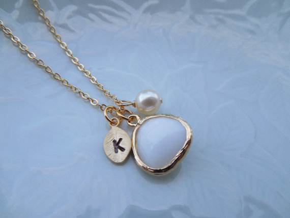 Mariage - June Birthstone necklace, Bridesmaid Gift, Pearl and White Alabaster Necklace, Gold Plated Necklace with Initial Leaf, Jewel, Pearl