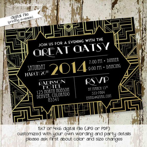 great gatsby invitation roaring twenties birthday 20s bridal shower art deco movie bash wedding rehearsal dinner engagement party item 303