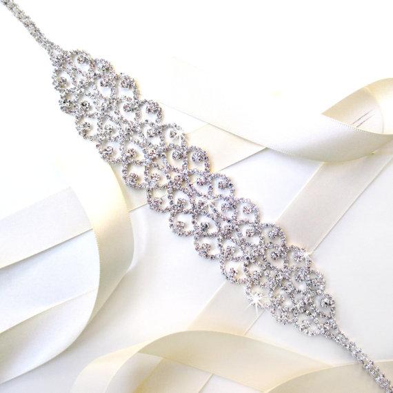 Свадьба - Ornate Rhinestone Bridal Belt Sash or Headband - Satin Ribbon - Extra Long Silver and Crystal Wide Wedding Dress Belt