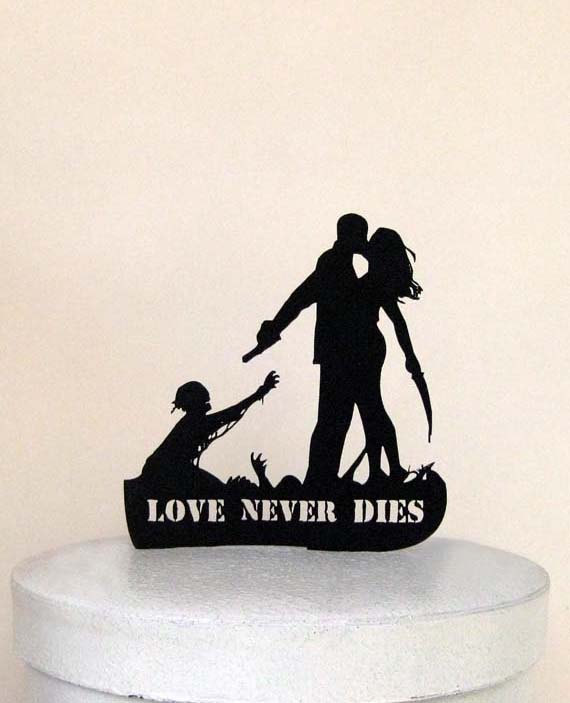 Hochzeit - Wedding Cake Topper - Zombieland Silhouette Wedding Cake Topper with LOVE Never Dies