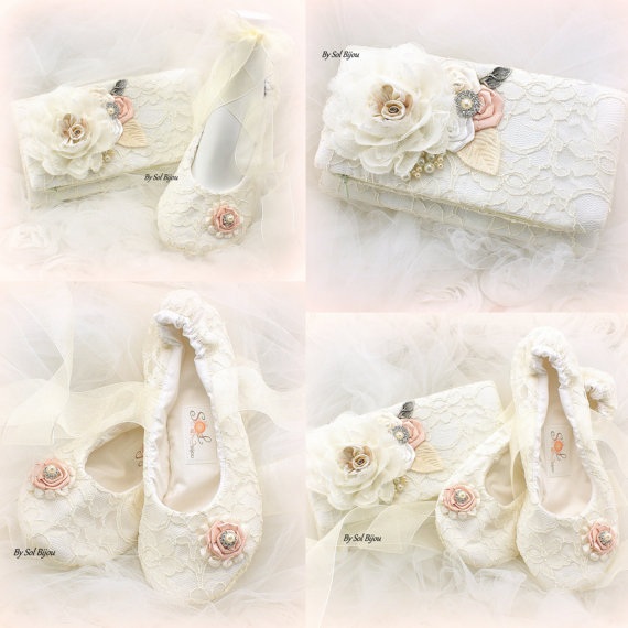 Mariage - Clutch, Wedding, Lace up, Ballet Flats, Handbag, Bridal Flats, Ballerina Flats, Cream, White, Ivory, Blush, in Lace with Pearls and Crystals