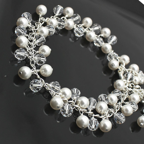 Mariage - Crystal Pearl Bridal Bracelet Swarovski Crystals Pearls Silver Bridal Bridesmaids Cluster Bracelet Wire Wrap Evening Cocktail Jewelry