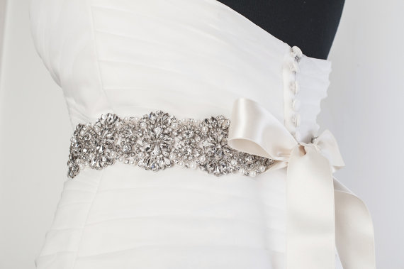 Wedding - Rhinestone Bridal Sash, Rhinestone and crystal Wedding belt, rhinestones and pearls satin sash, Jewelled and beaded sash, Bridal Accessories