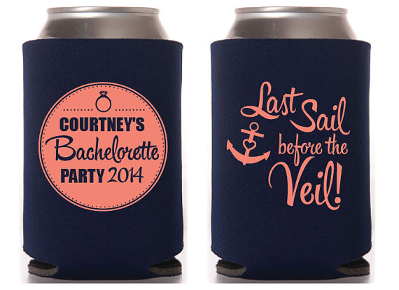 Свадьба - Last Sail Before the Veil Custom Bachelorette Koozie