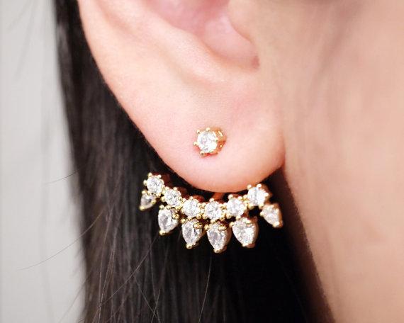Gold Cubic Zirconia Ear Jacket Earrings Two Side Jackets Bridal Jewelry