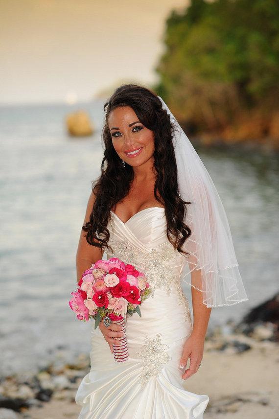 Mariage - Cascade Sparkle Rhinestone Edge Wedding Veil Waist Length Double Layer