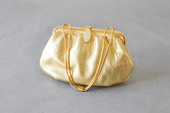 زفاف - Vintage bag hand bag clutch satchel gold party wedding bride purse chain