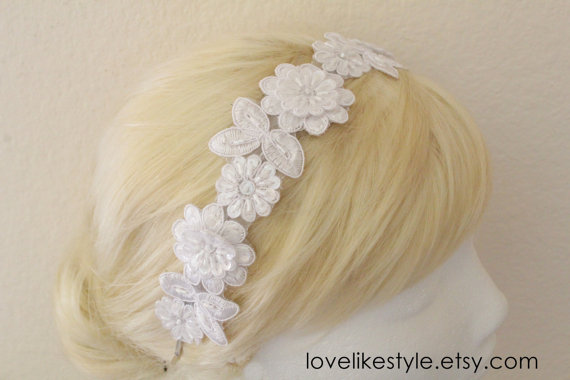 Mariage - White  Beaded Lace Headband ,  White Hair Band, White Head Piece,Bridal Headband, Bridesmaid Headband