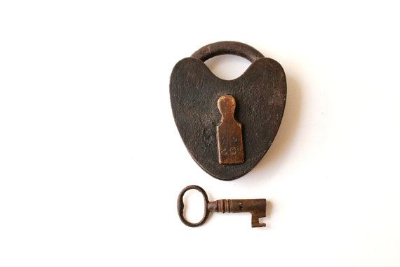 Wedding - Old Heart Padlock & Skeleton Key rustic vintage wedding ring pillow alternative . love lock working lock