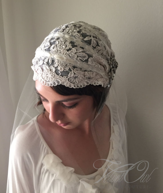 Mariage - Juliet Alencon lace bridal cap Swarovski crystal jewel embellishments with detachable veil hand made - EVANGELINE