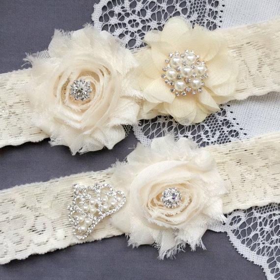 زفاف - Wedding Garter Bridal Garter IVORY Garter Set Lace Garter Set Crown Tiara Rhinestone Crystal Pearl Garter Princess GR173LX
