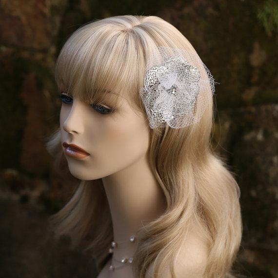 Wedding - Silver White Flower Wedding Bridal Hair Accessory