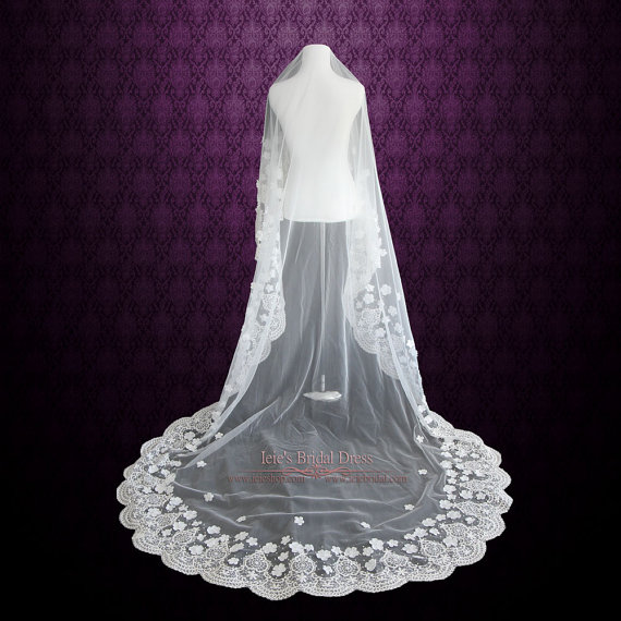 Wedding - Cathedral Length Lace Mantilla Wedding Veil with Flowers