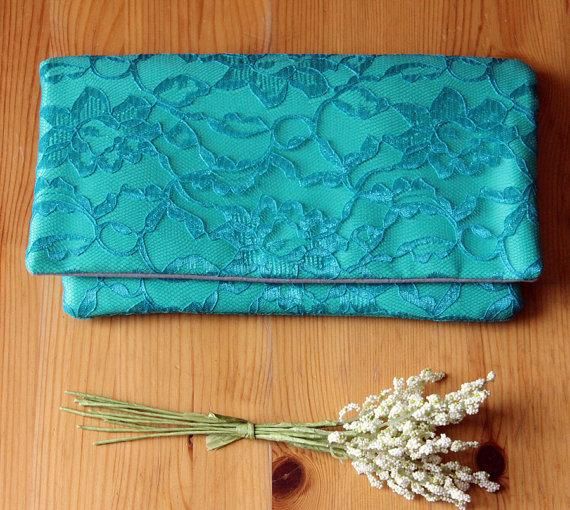 زفاف - The AMELIA CLUTCH - Enamel Blue Lace and Aqua Clutch - Wedding Clutch Purse - Blue Wedding Clutch, Turquoise Clutch, Something Blue