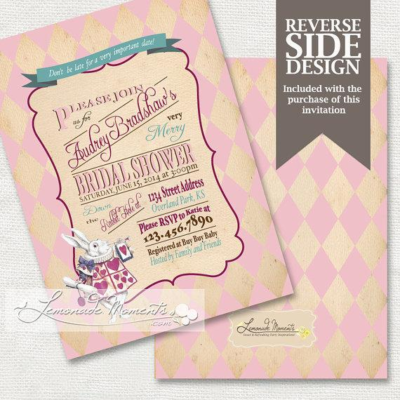 alice in wonderland bridal shower invitation mad hatter tea party printable invitation pink