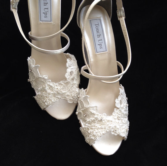 Reserved Listing For Corey Custom Mickey Alencon Lace 3 Inch Wedge Heel Wedding Shoes
