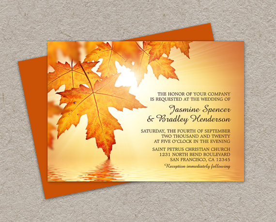 Diy Printable Fall Wedding Invitations With Leaves Invitation Cards Orange Autumn Invites
