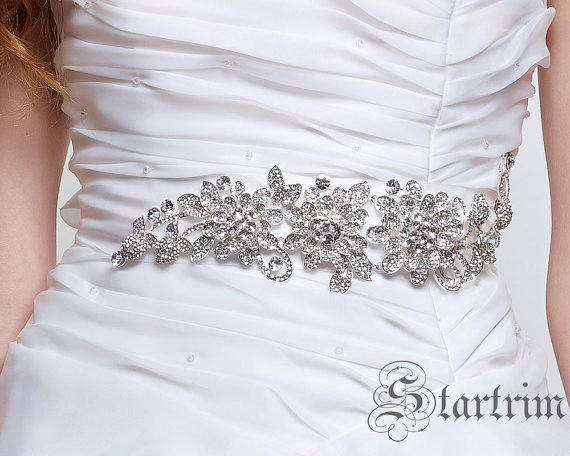 Wedding - MARIAINA wedding bridal crystal sash , belt