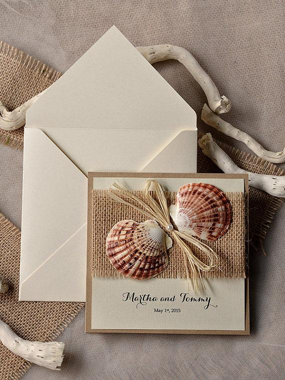 custom listing (100) seashell wedding invitation, beach wedding, Wedding invitations