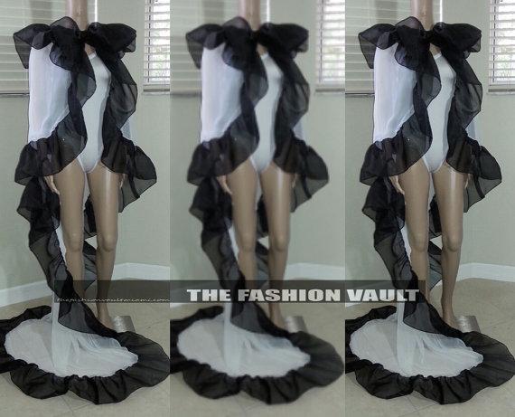 Mariage - Sale Sexy lingerie Wedding  Cape Poncho Dress Skirt Coverup  Cruella de vil Transformer photo prop Costume Cosplay