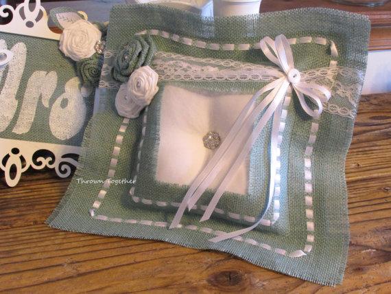 Wedding - Wedding Ring Pillow, Aqua White Wedding, Rustic Wedding, Aqua Burlap Ring Pillow, Burlap & Lace Wedding, Wedding Ring Bearer Pillow