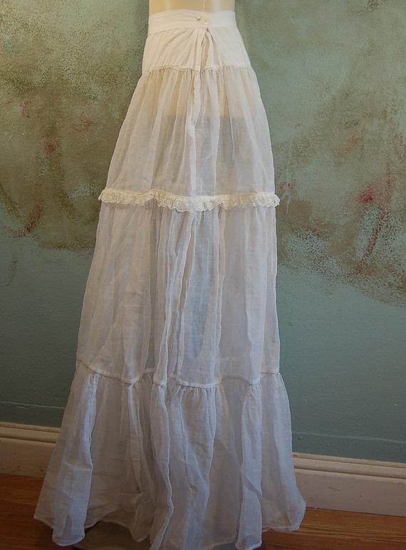 Hochzeit - Antique Wedding Skirt Crinoline Petticoat Slip Handcrafted from Vintage Materials  Size small