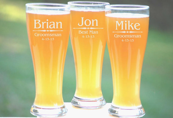Wedding - Personalized Groomsmen Gifts, 2 Pilsner Pint Glasses Beer Mugs, Custom Etched Glasses, Rustic Wedding Party Favors
