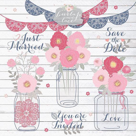 Свадьба - Peonies Wedding mason jar clipart flower, flower clipart, bridal clipart, dahlia clipart, flower, flower cliparts, navy blue, pink
