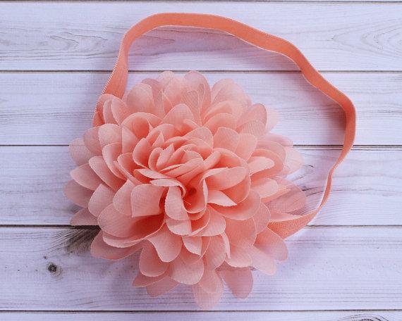 Peach Chiffon Flower Headband 38751cd73a3