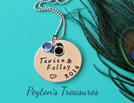 زفاف - Hand Stamped Jewelry- Hand Stamped Necklace- Personalized- Heart- Wedding- Name- Silver Necklace- Birthstone Jewelry Gift- Mother's Necklace