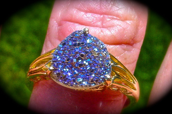 Свадьба - Amethyst Druzy Crystal ring 10K solid gold. Natural Amethyst Druzy. Filigree cocktail ring. Handmade One of a kind. Unique Engagement ring.