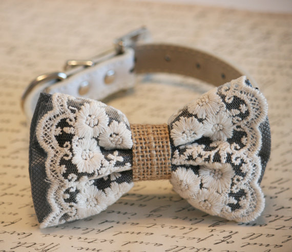 Свадьба - Charcoal Dog Bow Tie, Lace and Burlap, Rustic, Country wedding, Dog Lovers, Charcoal wedding accessory, Cute, Chic, Classy