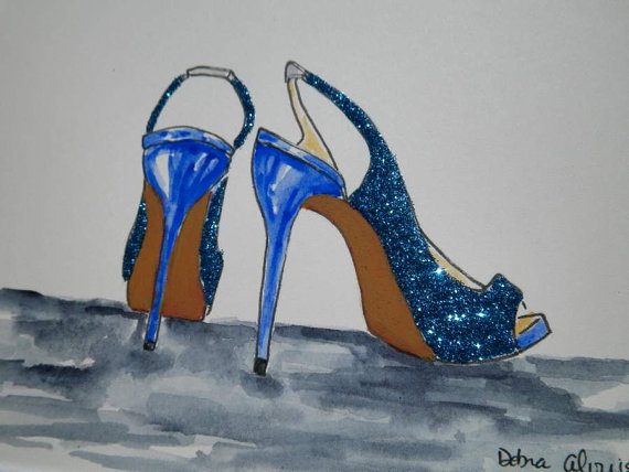 Свадьба - Sparkle Blue High Heel Shoes Wedding Glitter Heels Showers Gifts Fashion Inspired Art Original Illustration Painting by Artist Debra Alouise