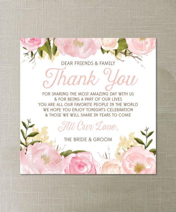 Instant Download Floral Thank You Place Card Wedding Reception