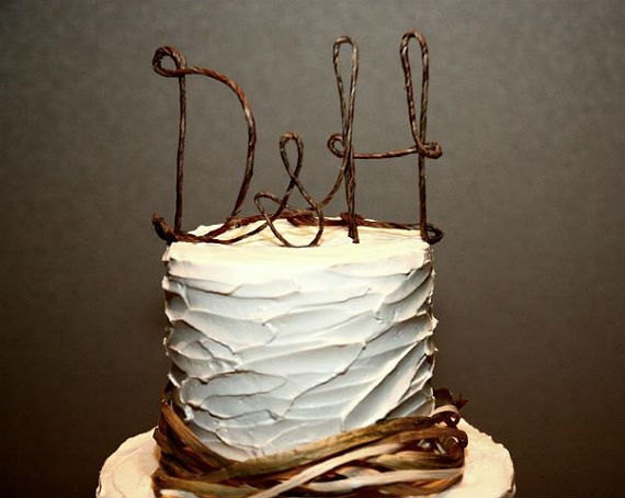 Rustic Wedding Cake Topper With Your Initials Monogram Custom Decoration Table Centerpiece