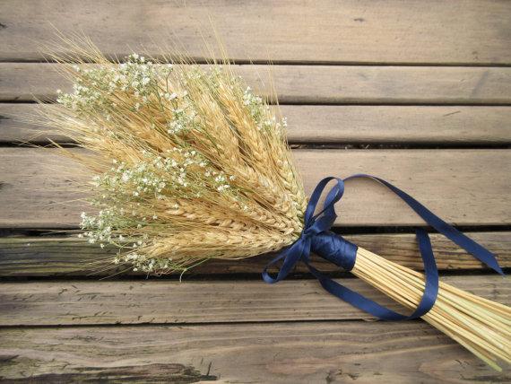 زفاف - Simple Summer Wheat Bridesmaid/Flower Girl Bouquet -Dried Wedding Bouquet- Wheat Bouquet - Wheat