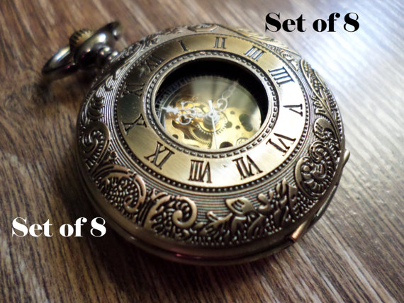 set of 8 gold bronze mechanical pocket watches with watch chains