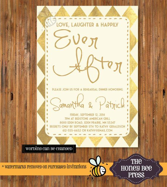 Love And Laughter Rehearsal Dinner Invitation Digital Design: Rehearsal Dinner Invitation Gold Foil Design