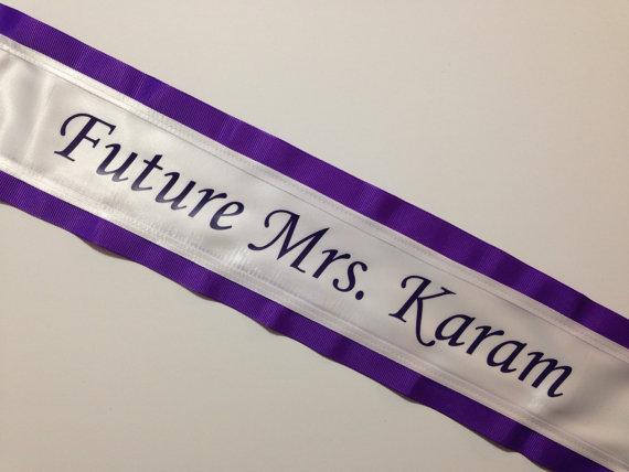 Mariage - Bachelorette Sash - Bridal Shower Sash -  Purple