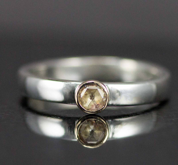 Mariage - Moissanite Rose Cut Engagement Ring - Gold and Sterling Moissanite Ring