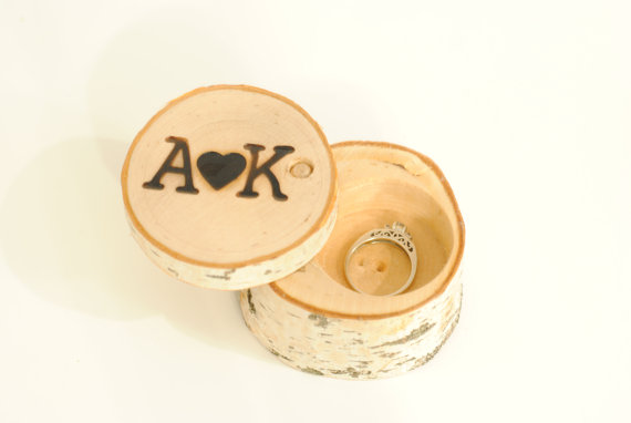 Wedding - Personalized Birch Ring Box ~ rustic wedding/proposals/Gifts ~ Wooden Ring Box
