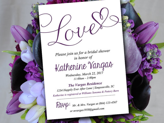 Bridal Shower Invitation Template   Wedding Shower Invitation   Eggplant  Purple   Bridal Shower Invitation Templates Download