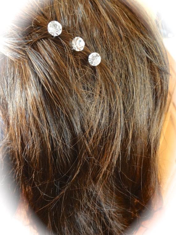 Mariage - Crystal rhinestone hair pins ~ Set of 3 ~ Wedding hair pins ~ Hair accessory ~ Hair jewelry ~ Sparkly ~ Bouquet pin ~ Cake pins