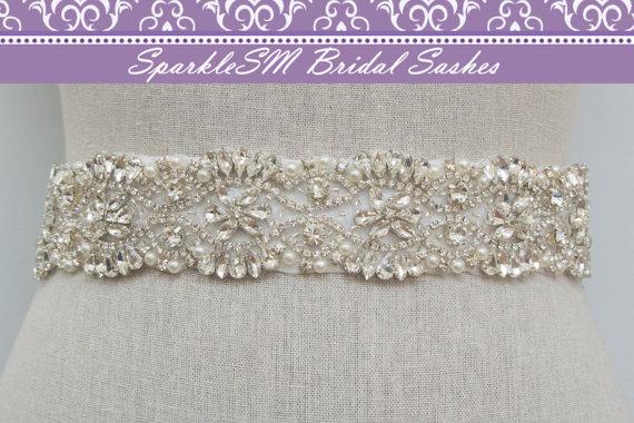 زفاف - Crystal Bridal Sash, Beaded Bridal Belt, Wedding Dress Sashes, Ivory Bridal Belt, SparkleSM Bridal Sashes - Tess