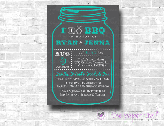 i do bbq mason jar invitation couples shower wedding shower chalkboard