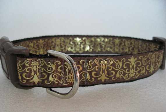 Свадьба - Damask Brown and Gold Foil Collar...Last One! Collars for Canines Custom Dog Collars