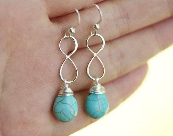 زفاف - Sterling silver Infinity Earrings,Personalized,birthstone,Custom Wedding color,Bridesmaid gifts,Turquoise earrings,Wedding Bridal Jewelry