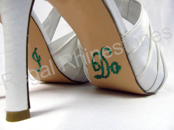 زفاف - I Do Shoe Stickers - EMERALD GREEN SCRIPT I Do Wedding Shoe Stickers - Green I Do Shoe Decals for your Bridal Shoes